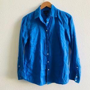 J. Crew women's blue linen blouse shirt 6p petite